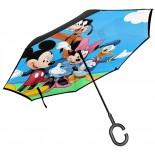 Inverted Umbrella Donald Duck Double Layer Auto Open Reverse Umbrella With C-Shaped Handle Outdoor Car Windproof Rain Parasol  B092MDGWMV